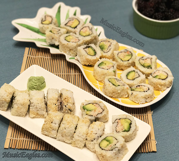 Delicious Home Cooking California Roll Sushi Music Eagles